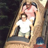 Pam and Cindy ride the log at Idlewild.