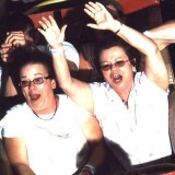 Pam and Bonnie having fun on the Rollo Coaster at Idlewild.
