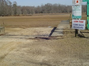 This is the boat ramp at Ferguson's Landing on Lake Marion during the severe drought of 2007/2008. Beyond the trees in the background are the remains of the town of Ferguson, normally buried under the lake waters, but exposed for the first time in 50 years during the drought.